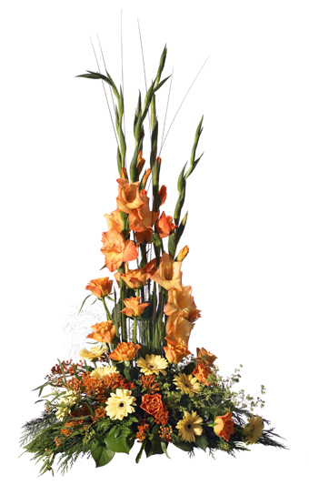 Högre blomdekoration med gladiolus, ros och germini.