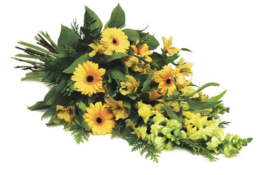 Dekorationsbukett med gula blommor.