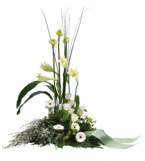 Hög blomdekoration med liljor, steelgrass och germini.